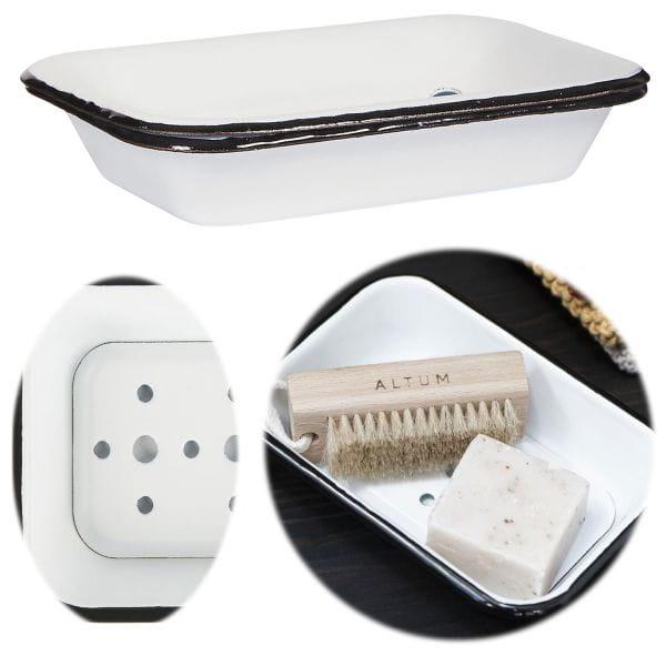 XL Seifenschale Emaille Creme Weiß 17cm Altum Seifenhalter Seifenablage