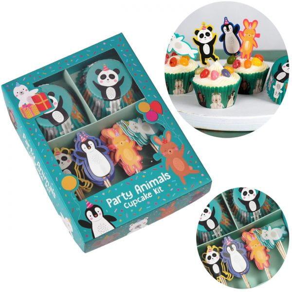 48x Papier Muffinform-Set Panda Pinguin Muffinförmchen Fahnen-Picker