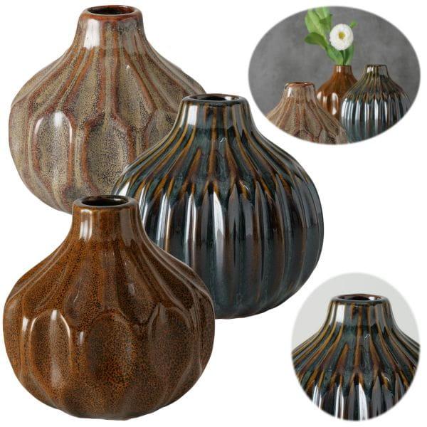 3x Tischvase 12cm Set Braun Blumenvase Deko-Flasche Glasvase