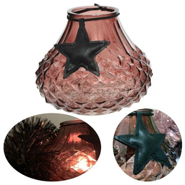 Glas Windlicht Rosa Braun Stern 11cm Teelichtglas Teelicht-Halter Deko