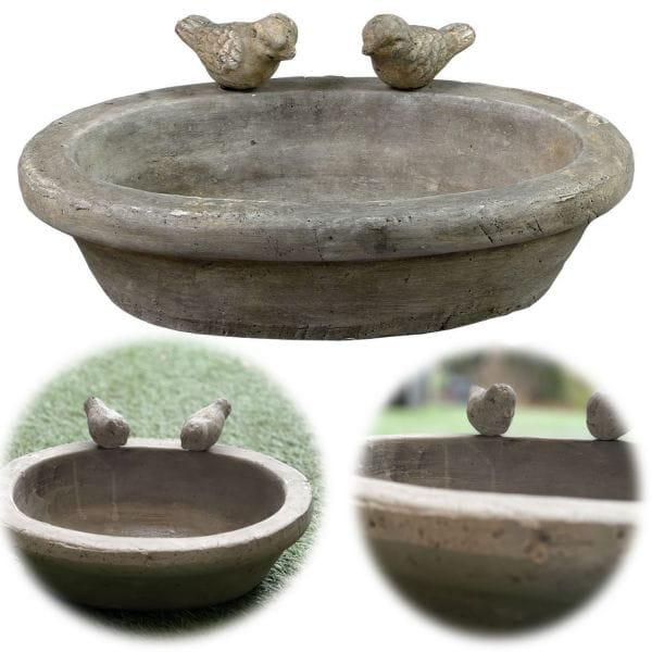 Vogelbad Vogeltränke Keramik 30cm 2 Vögel Grau Balkon Terrasse Garten