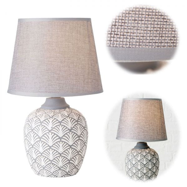 Tischlampe Keramik Oslo Grau Creme 32cm Tischleuchte Nachttischlampe