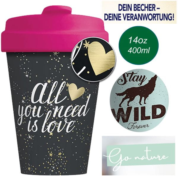 ChicMic Coffee to Go Cup 400ml You need Love Pink Bambus Trink-Becher