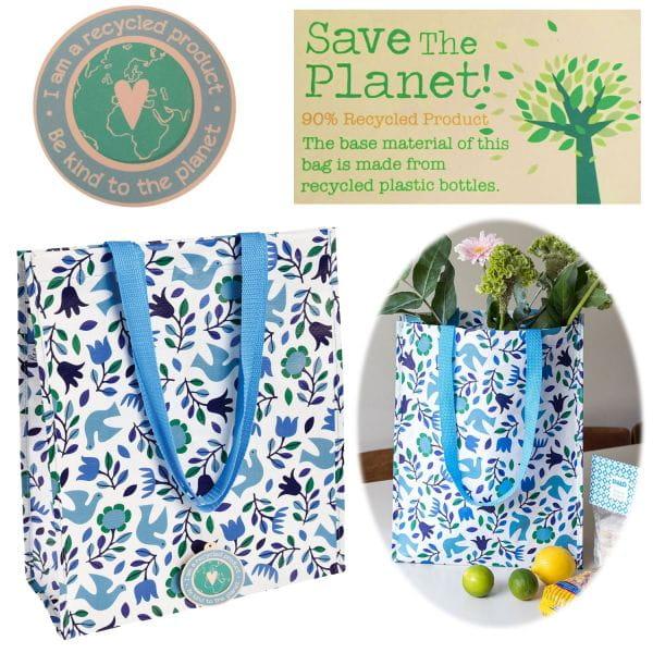 Shopper Einkaufstasche Vögel Recycled Strandtasche Schultertasche