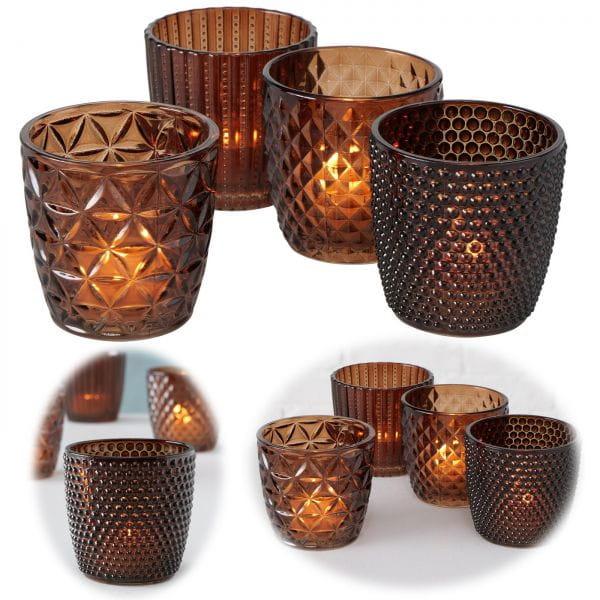 4´er Set Glas Teelichthalter Retro Braun 7cm Teelichtglas Windlicht-Halter