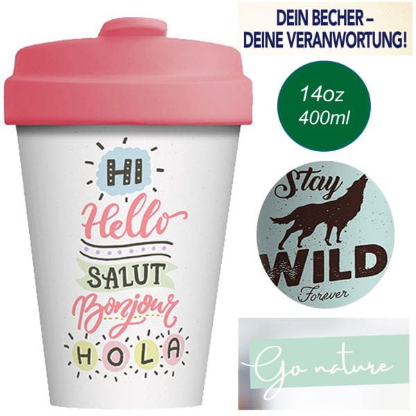 ChicMic Coffee to Go Cup 400ml Salut Bonjour Rosa Bambus Trink-Becher