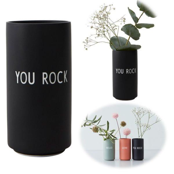 AJ Tischvase 11cm You Rock Schwarz Design Letters Blumenvase Deko Väschen