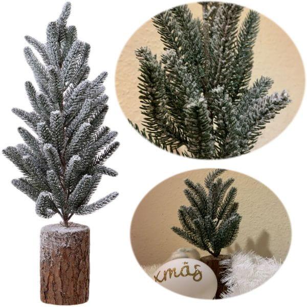 Deko Weihnachtsbaum 34cm Grün Schnee Holz Sockel Tannenbaum Tisch-Deko