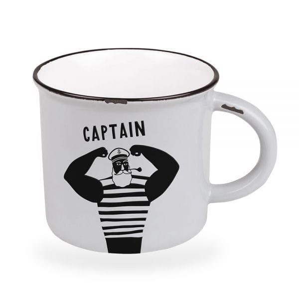 Kaffeebecher 470ml Vintage Captain Weiß Emaille-Look Kaffeetasse