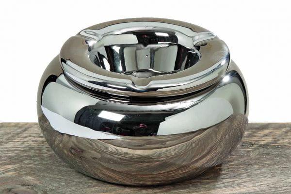 XL Sturmaschenbecher Silber Steingut 14cm Windaschenbecher Aschenbecher