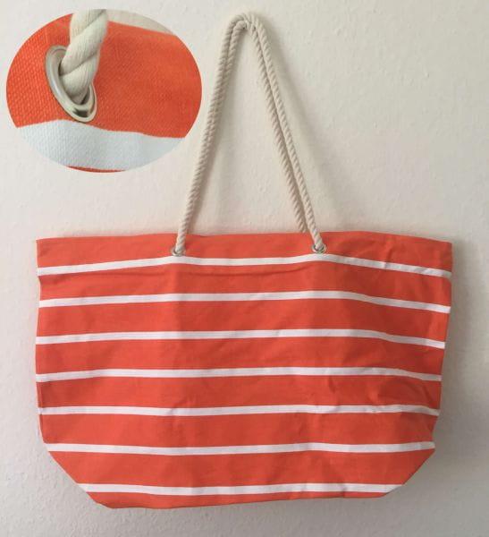 XL Strandtasche Schultertasche Umhängetasche Einkaufstasche Orange Weiss