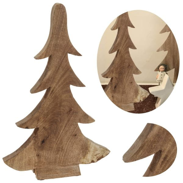 Deko Holz-Baum Weihnachtsbaum 28cm Braun Tannenbaum Dekoration X-Mas