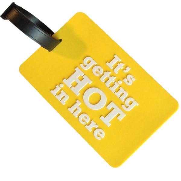 3D XL Koffer-Anhänger Gelb Getting Hot 10,5cm Namensschild Gepäckanhänger