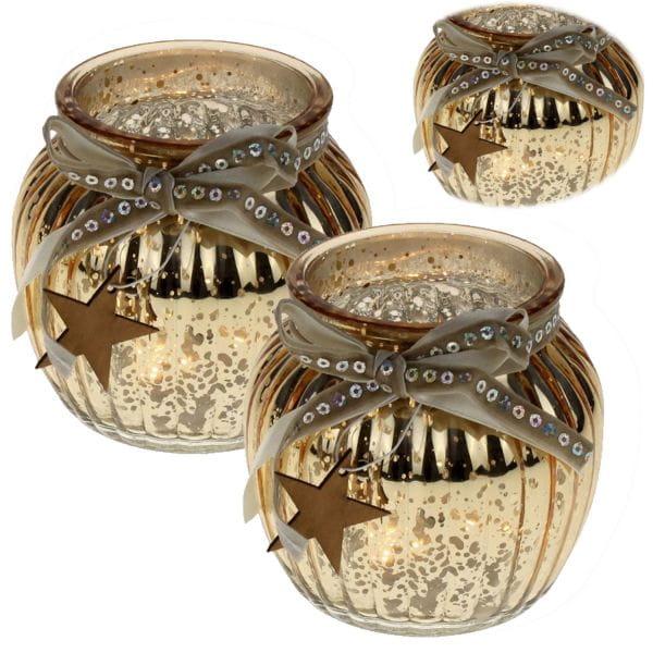 2x Glas Windlicht Gold Gelb Stern 11cm Set Teelichthalter Teelichtglas