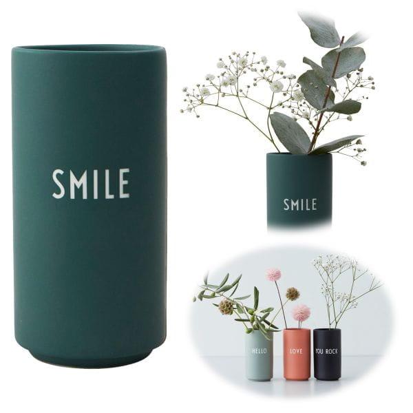 AJ Tischvase 11cm Smile Grün Design Letters Blumenvase Deko Väschen