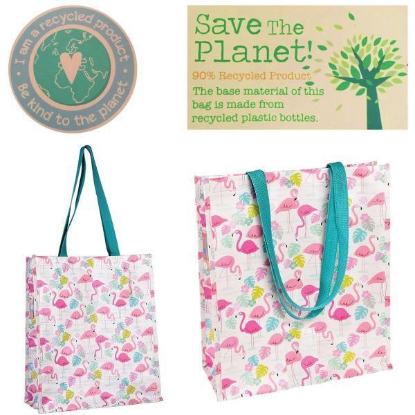 Öko Einkaufstasche Schultertasche recycled Strandtasche Flamingo Rosa