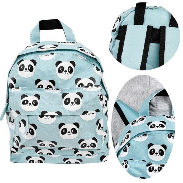 Kinder Rucksack Panda Bär Blau Weiß 28x20cm Tasche Kindergarten