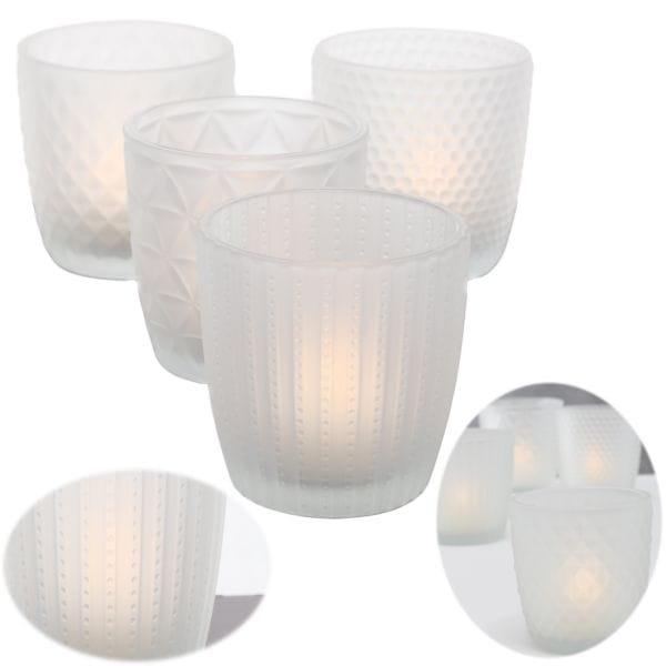 4´er Set Glas Teelichthalter Retro Weiß Matt 7cm Teelichtglas Windlicht-Halter