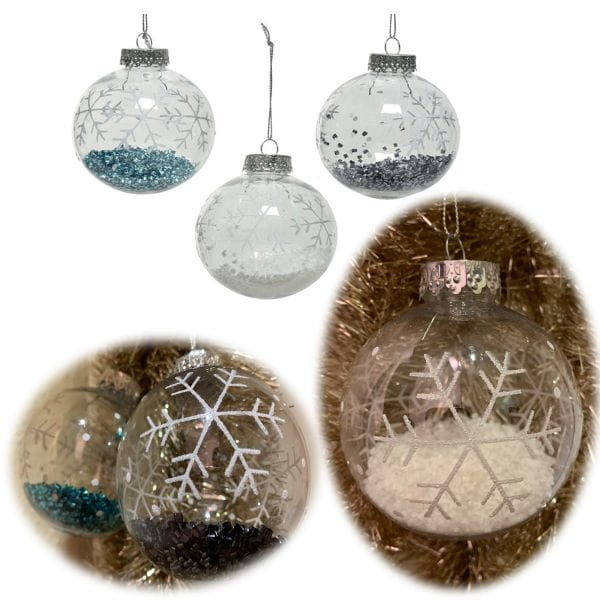 3 Design Weihnachtskugeln 8cm Klar Gefüllt Kunststoff Dekokugel Baumkugel