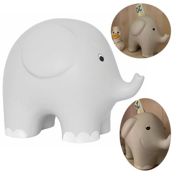 JaBaDaBaDo Keramik Sparschwein Elefant Grau Weiß 10cm Spardose G10044