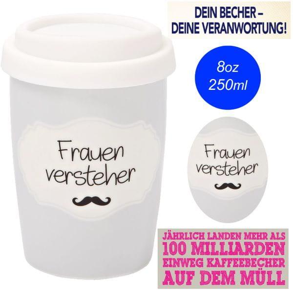 Porzellan Coffee to Go Becher 250ml Frauenversteher Kaffee Trink-Becher