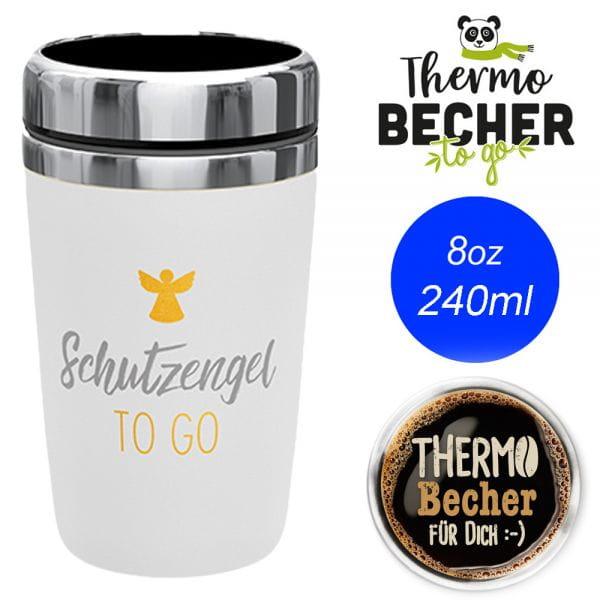 Edelstahl Coffee to Go Becher 240ml Schutzengel Kaffee Thermo-Becher