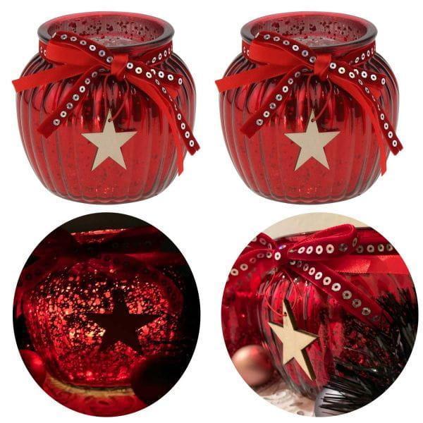 2x Glas Windlicht Rot Stern Gold Set 11cm Teelichthalter Teelichtglas