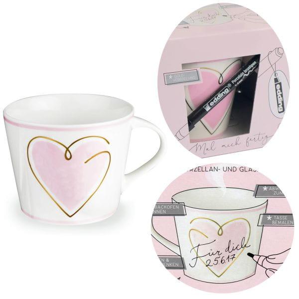 Kaffeebecher zum Bemalen 420ml Echt-Gold Herz Rosa Create your Own