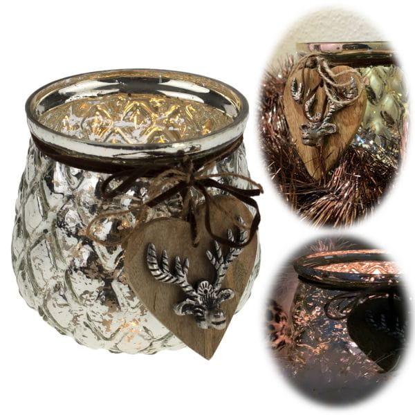 Glas Windlicht Hirsch Herz 12cm Silber Teelichthalter Teelichtglas